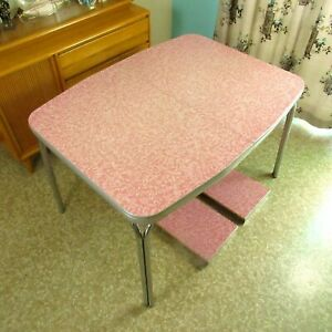 1950s Vintage Pink Formica Dinette Table Two Leaves Mid Century Local Pick Up