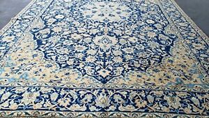8 2 12 1 Large Vintage Blue Soft Gold Persian Oriental Rug Hand Knotted Wool