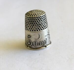 Antique Sterling Signed Ketcham Mcdougall Salem Witch Thimble