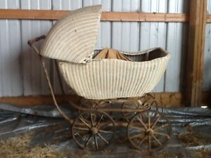 Antique Llyod Loom 1917 White Wicker Baby Carriage Large Victorian Buggy 100yrs
