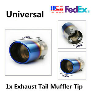Universal Car Exhaust Pipe Rear Muffler Tip Tailpipe Blue Chrome Stainless Steel