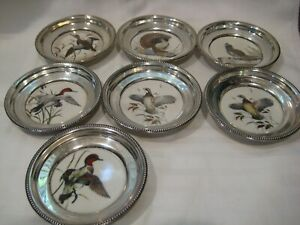 7 Antique Vintage Frank M Whiting Sterling Silver Painted China Coasters