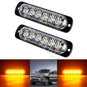 2pcs 6 Led Amber Car Truck Front Grill Emergency Warning Flash Strobe Light Lamp