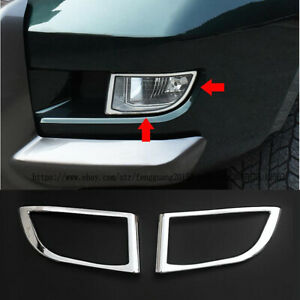 For Toyota Prado Fj120 2003 2009 2pcs Abs Chrome Front Fog Light Lamp Cover Trim