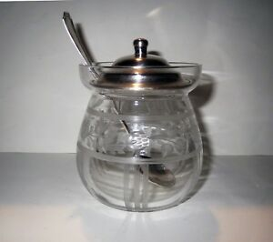 Antique Sterling Silver Engraved Crystal Jelly Jar And Spoon Set Gorham