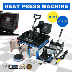 8 In 1 Digital Heat Press Machine Sublimation For T shirt mug plate Hat Printer