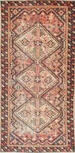 Antique Wool Bakhtiari Old Handmade Oriental Geometric Runner Rug 5 X 10