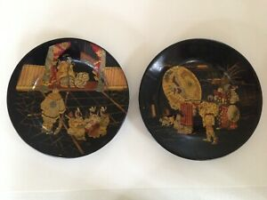 A Pair Of Japanese Lacquer Shallow Plates