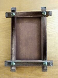 Adirondack Tramp Art Frame W Glass 4 1 8 X 5 3 Wood Photography Vintage