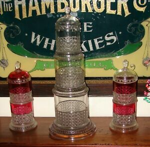 Antique Pyramid Stacking Apothecary Candy Pharmacy Drugstore Display Jar Rare