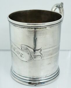 1840s American Coin Silver Handled Cup Mug Sterling Silver Antique Vintage Early