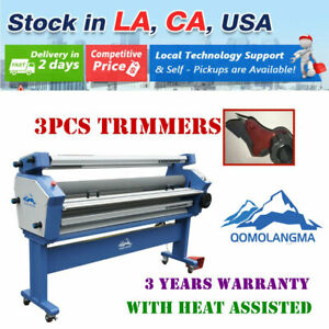 Us 110v 63in Full auto Large Format Heat Assisted Cold Laminator With 3 Trimmers