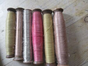 Set Of Six Antique French Silk On Original Antique Bobbins Thread Embroidery