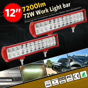 12INCH 72W LED Work Light Bar Spot Flood Combo Offroad Pickup SUV ATV 12V