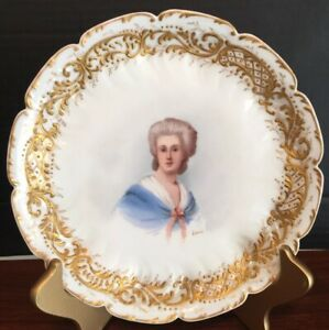 1880s Limoges Hand Painted Artist Signed Gilt Portrait Plate Sevres Mark Also Ex