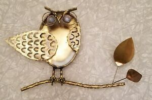 Vintage Mid Century 1972 C Jere Signed Owl Wall Sculpture
