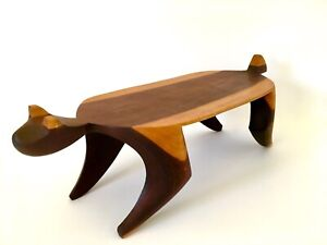 Mid Century Modern Wood Cat Shelf Sculpture Folk Art Modernist Bohemian Carved
