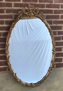 Vintage Large French Gold Barbola Gesso Flowers Bow Wood Frame Mirror Oval