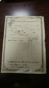 Old Antique Vintage Opium Opioid Doctor Pharmacy Official Us Irs Order Form Rare