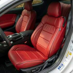 Katzkin Red Leather Repla Int Seat Covers Fits 2015 2019 Ford Mustang V6 Gt Eco