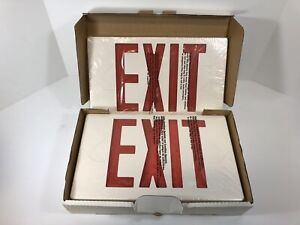 Led Universal Exit Light Fixture Sign White With Red Letters Pac0201b2rw