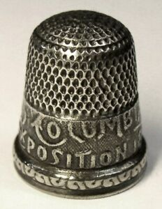Antique Simons Bros 1893 Columbian Exposition Sterling Silver Thimble Monogram