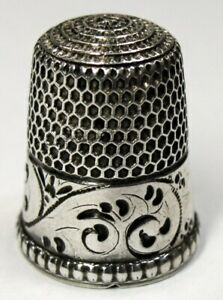 Antique Simons Brothers Sterling Silver Thimble Young Fern Design C1900s