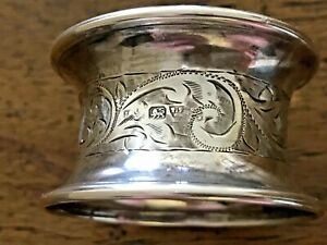 Sterling Silver Hallmarked Art Deco Napkin Ring Floral Engraving
