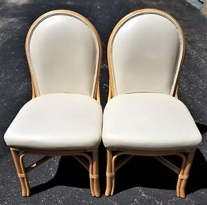 2 La Cor Wicker Co Mid Century Modern Regency Bamboo Rattan Dining Chairs