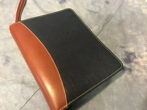 Franklin Quest Brown Blue Leather Classic Planner Binder Gold 7 Rings Zipper A