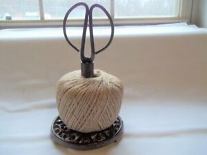 Cast Iron String Twine Yarn Holder Spool W Scissors Crafts Sewing Room Kitchen