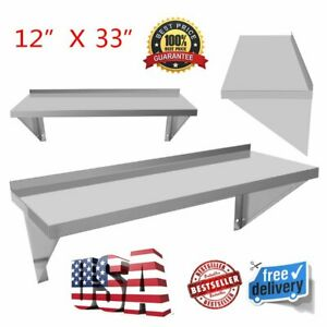 12x33 inch Kitchen Wall Shelf Mounted Stainless Steel Rack Restaurant Shelves My