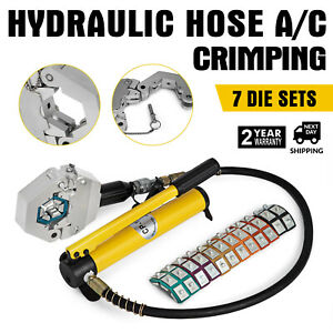 Hydraulic Hose A c Crimping Tool With Manual Pump 7 Die Fittings Newest Crimper