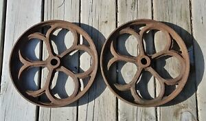 2 Antique Ornate Cast Iron Wheels Industrial Hit Miss Engine Farm Cart Steampunk
