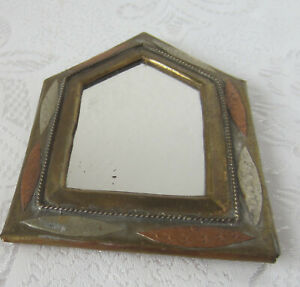 Antique Mirror Brass Copper Hand Made Ornate Frame Art Small Metal 3