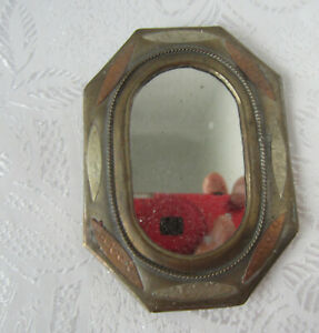 Antique Mirror Brass Copper Hand Made Ornate Frame Art Small Metal 5
