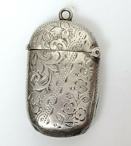 Antique Sterling Silver Vesta Match Case Striker Hallmarksj G Birmingham 1886