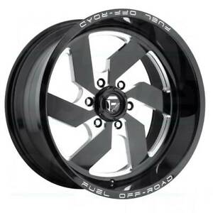 4 New 22 Fuel Turbo D582 Wheels 22x12 8x180 43 Black Milled Rims