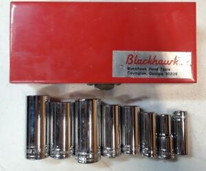 Vintage Blackhawk Hw Series Sae 3 8 Socket Set 8 Piece W Case