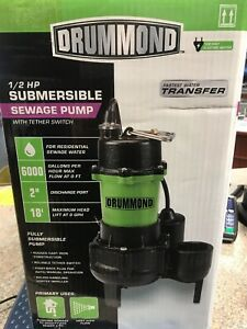 Drummond 63323 1 2 Hp Submersible Sewage Pump With Tether Switch