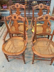 Nice Antique Victorian Walnut Chairs Back Set Of 4 Refinished Cane Seats
