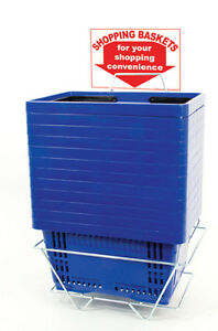 Set Of 12 Retails Blue Standard size Shopping Baskets With Plastic Handles