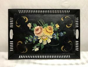 Hand Painted Floral 21 5 X 14 5 Rectangular Black Metal Tole Tray