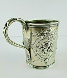 Antique Gorham Coin Silver Hand Chased Cup Repousse Floral