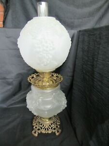 Antique Victorian Consolidated Frosted Gwtw Lamp W Grapes Never Electrified
