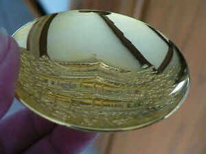 Vintage Japanese 24k Gold Plated Gp 3 Sake Cup Pagoda Or Trinket Dish Ln