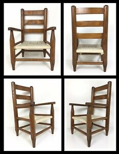 Vintage Child S Chair W Woven Rope Seat Ladder Back Oak Wood Farmhouse