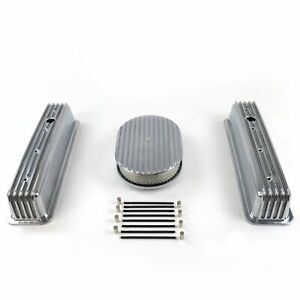 Sbc Chevy 350 Finned Center Bolt Vortec Aluminum Valve Covers Air Cleaner Kit