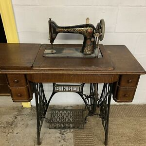 Antique 1890 Singer Early Model 15 Sewing Machine Hand Crank With Desk And Pedal