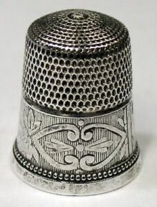 Antique Simons Bros Sterling Silver Thimble Abstract Flowers Leaves C1920s